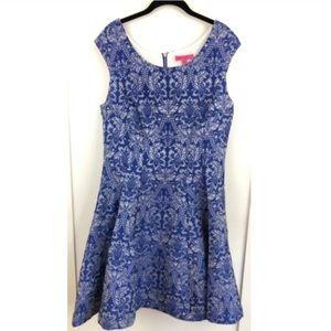 Betsey Johnson Blue Jacquard Damask Dress